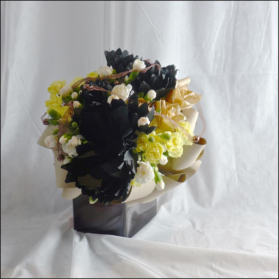Bouquet with black and brown paper flowers