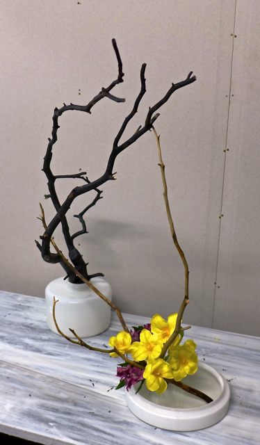 Black branch with tulips and alstroemeria