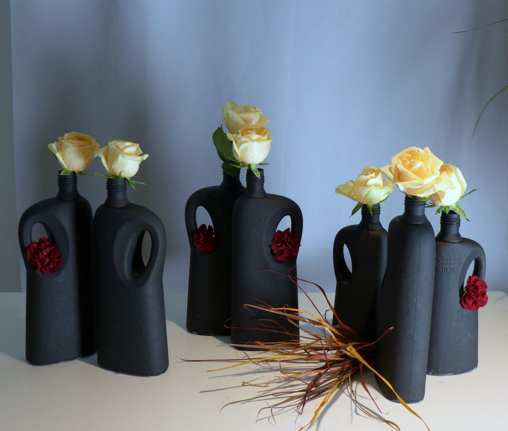 Detergent bottles as vases